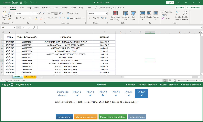 77-727 Microsoft Office Specialist Excel Core 2016-Versión en español